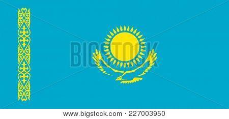 Flag of Kazakhstan. Symbol of Independence Day, souvenir sport game, button language, icon.