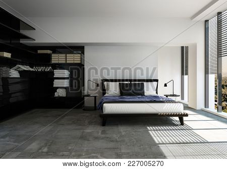 Stylish modern bedroom in black and grey decor with a divan style double bed and shelving units on a tiled floor lit by sunny windows. 3d rendering
