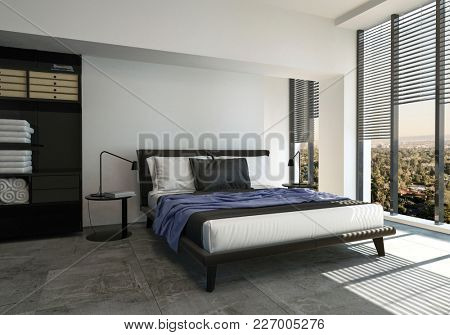 Bed in modern spacious bright bedroom with large windows. 3d Rendering.