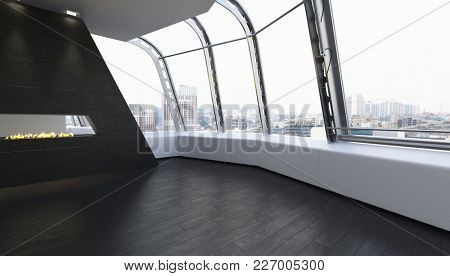 Unfurnished modern room with wooden floor and view of city through large windows. 3d Rendering.