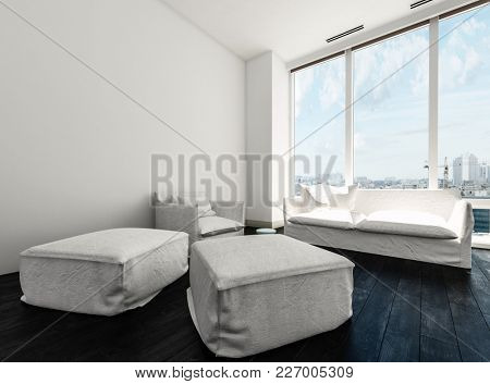 Comfy minimalist monochrome white living room interior with a sofa and armchair and two upholstered ottomans in front of large windows with a view of the city. 3d Rendering.