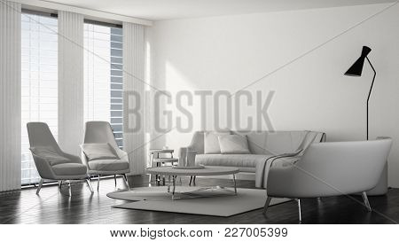 Modern stylish white living room interior with a chrome upholstered lounge suite, coffee table and standing lamp in front of long windows. 3d Rendering.