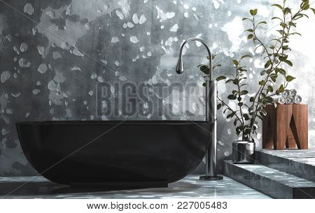 Modern hipster bathroom in a grungy loft conversion with chipped and damaged concrete wall forming an abstract pattern and black freestanding oval bathtub with potted plant. 3d rendering