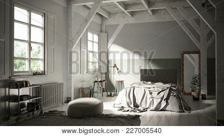 Light wooden Scandinavian style bedroom interior in a loft or attic conversion with exposed beams and a messy bed lit by sunlight from two windows. 3d rendering