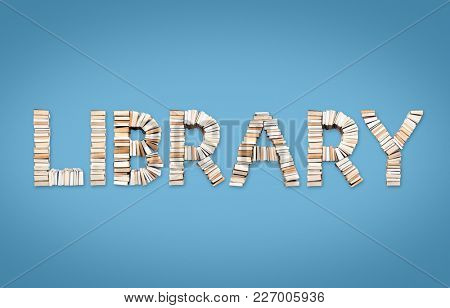 LIBRARY word formed from books, shot from above on light blue background