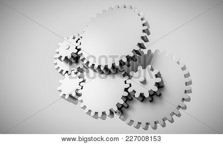 3d rendering of Gears locked in interdependence - concept
