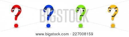 3D Rendering of four funny interrogation marks with different facial expressions on white background