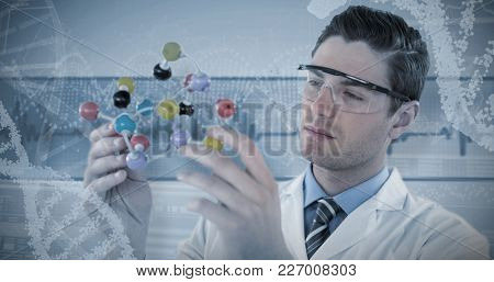 Scientist experimenting molecule structure against panoramic view of dna helix pattern on device screen
