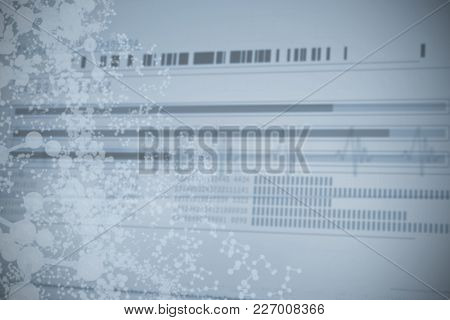 Information data of dna over white background