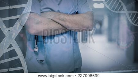 Red dna pattern on screen against midsection of surgeon standing with arms crossed