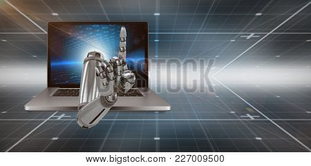 3D Composite image of robotic hand pointing against hexagon pattern on technical background with binary code