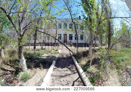 Urban decay.Former Soviet anti-ballistic missile testing range.West Bank of Balkhash Lake.May 8, 2017.Saryshagan. Kazakhstan