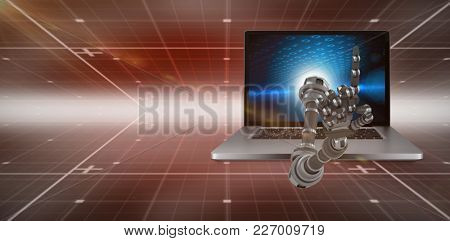 3D Composite image of robotic hand against technical background with binary code