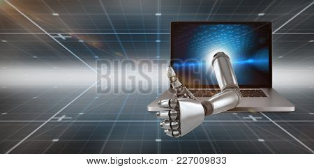 3D Robotic hand showing thumbs up against technical background with binary code