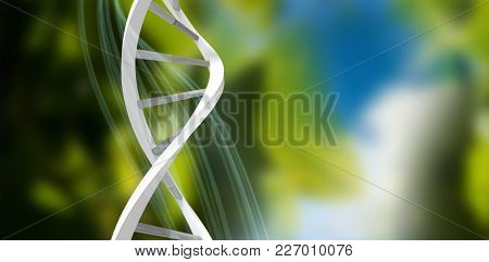 3d Image of dna helix against blue and green background with shiny lines