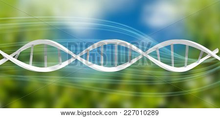 3d Image of dna helix against blue an green background with shiny lines