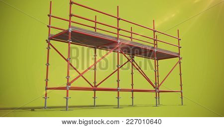 Digitally generated image of scaffolding against green background