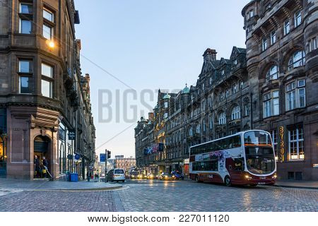 EDINBURGH, SCOTLAND - March 27, 2017: Street view of Historic Old Town Houses in Edinburgh, Scotland