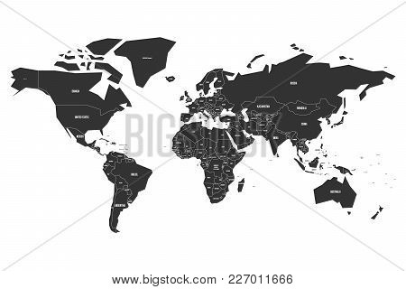 Vector Map Of World In Black Color With White Labels