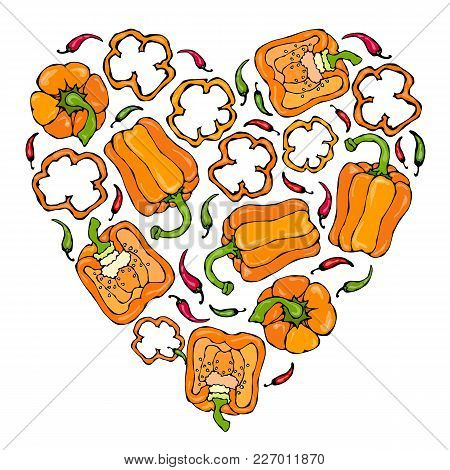 Orange Bell Peper Heart Shape Wreath. Half Of Sweet Paprika And Rings Of Pepper Cuts. Fresh Ripe Raw