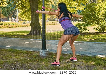 A Sporty Female From The Back Exercising With Trx Straps In A Park.