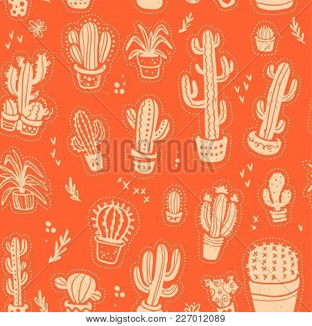 Vector Seamless Pattern With Hand Drawn Cactus Elements Isolated On Orange Background. Floral Desert