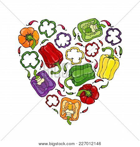 Red, Orange, Yellow, Green, Purple Bell Peper Heart Shape Wreath. Half Of Sweet Paprika And Rings Of