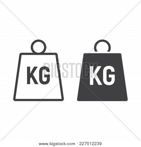 Weight Symbol Line And Glyph Icon, Logistic And Delivery, Kilogram Sign Vector Graphics, A Linear Pa