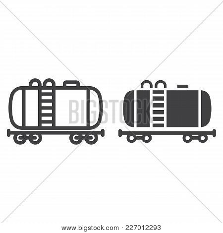 Cistern Oil Train Line And Glyph Icon, Logistic And Delivery, Cargo Railway Sign Vector Graphics, A