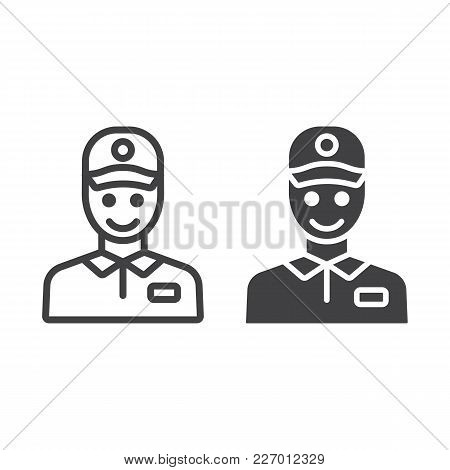 Delivery Man Line And Glyph Icon, Logistic And Delivery, Courier Sign Vector Graphics, A Linear Patt