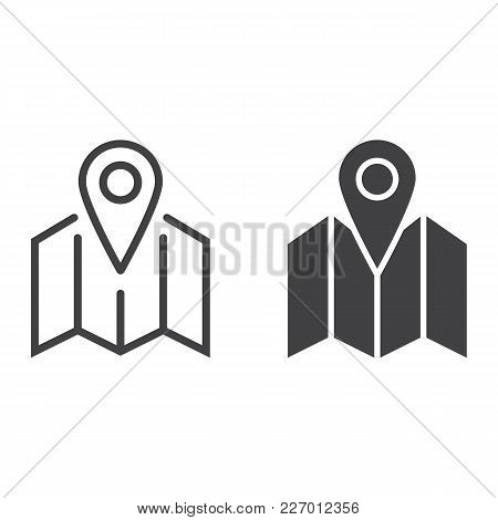 Pinpoint On Map Line And Glyph Icon, Geolocation And Navigation, Gps Sign Vector Graphics, A Linear