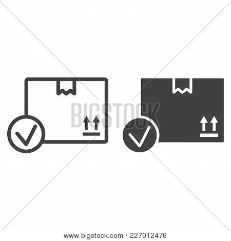 Carton Box With Check Mark Line And Glyph Icon, Logistic And Delivery, Order Delivery Sign Vector Gr