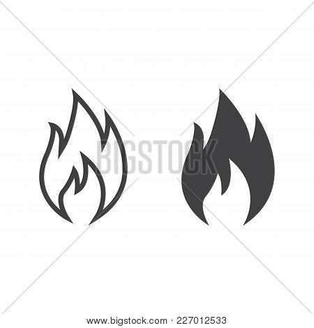 Flammable Symbol Line And Glyph Icon, Logistic And Delivery, Fire Sign Vector Graphics, A Linear Pat