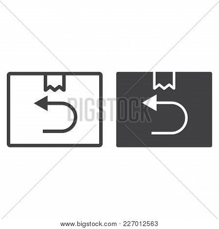 Return Shipping Line And Glyph Icon, Logistic And Delivery, Cardboard Box Sign Vector Graphics, A Li