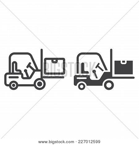 Forklift Delivery Truck Line And Glyph Icon, Logistic And Delivery, Cargo Vehicle Sign Vector Graphi