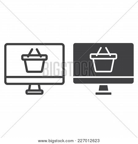 Online Shopping Line And Glyph Icon, Basket And Pc, E Commerce Sign Vector Graphics, A Linear Patter