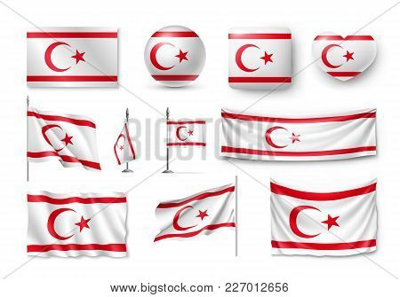 Set Northern Cyprus Flags, Banners, Banners, Symbols, Relistic Icon. Vector Illustration Of Collecti