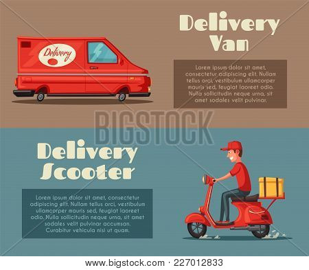 Fast And Free Delivery. Vector Cartoon Illustration. Vintage Style. Food Service. Red Scooter And Va
