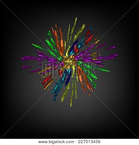 The Salute Is Colorful. Fireworks. Vector Illustration