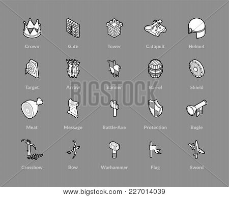 Isometric Outline Icons, 3d Pictograms Vector Set - Castle And Weapons Symbol Collection