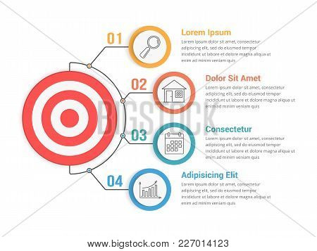 Infographic Template With Target With Four Steps Or Options, Workflow, Process Diagram, Vector Eps10