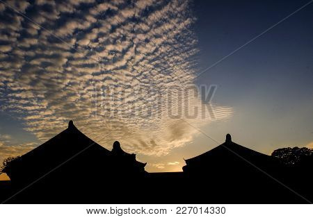 Silhouette Traditional Korean Decor Roof Of Village House In Palace, Geongjul, South Korea .taken Du