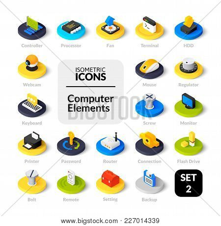 Color Icons Set In Flat Isometric Illustration Style, Vector Symbols - Computer Collection