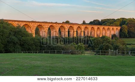 The Cefn Mawr Viaduct In The Evening Light, Near Wrexham, Wales, Uk