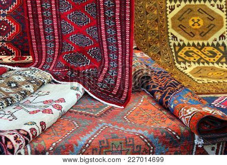 Carpets Of Different Nationalities And Quality For Sale In The Ethinic Market