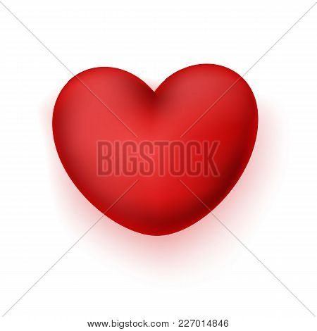 Vector Realistic 3d Red Elegant Heart. Happy Valentines Day Symbol Of Love, Care, Togetherness. Isol