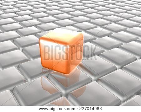 Orange And Grey Cubes As Abstract Background, 3d Illustration.