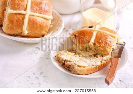 Hot Cross Buns - Easter Bake Served On Table