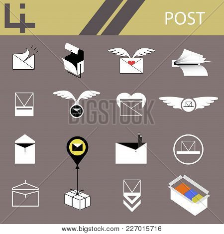Icons Of The Postal Service Send The Message By Parcel Or Letter
