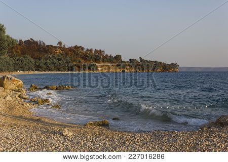 Tucepi, Croatia - August 15 2017: Tucepi Coastline At Sunset Light
